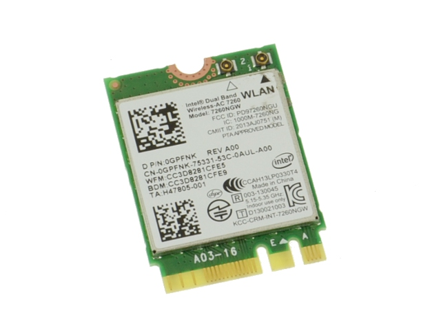Intel Wireless 7260 WLAN WiFi 802 11 ac/a/b/g/n + Bluetooth 4 0 Dual Band  Card - GPFNK w/ 1 Year Warranty