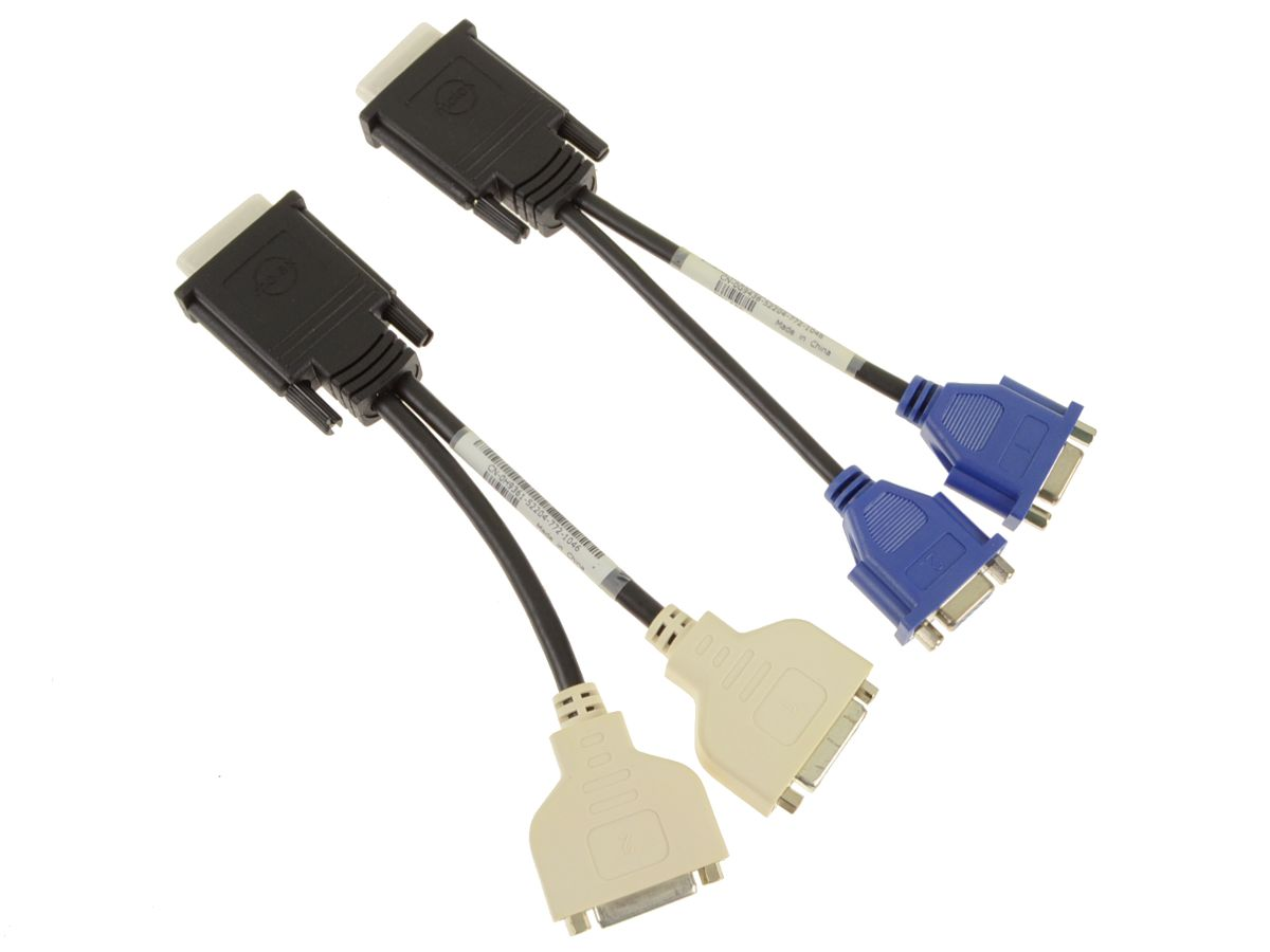 Dell OEM Monitor Cable Kit - DMS-59 to DVI VGA Split Cable Adapters Kit -  J9256