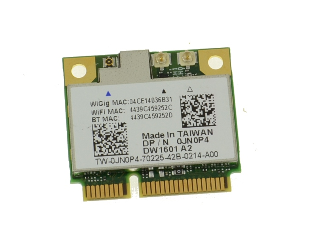 Dell OEM Wireless 1601 DW1601 WiFi 802 11 a/b/g/n + Bluetooth + WiGig  Half-Height Mini-PCI Express Card - JN0P4 w/ 1 Year Warranty