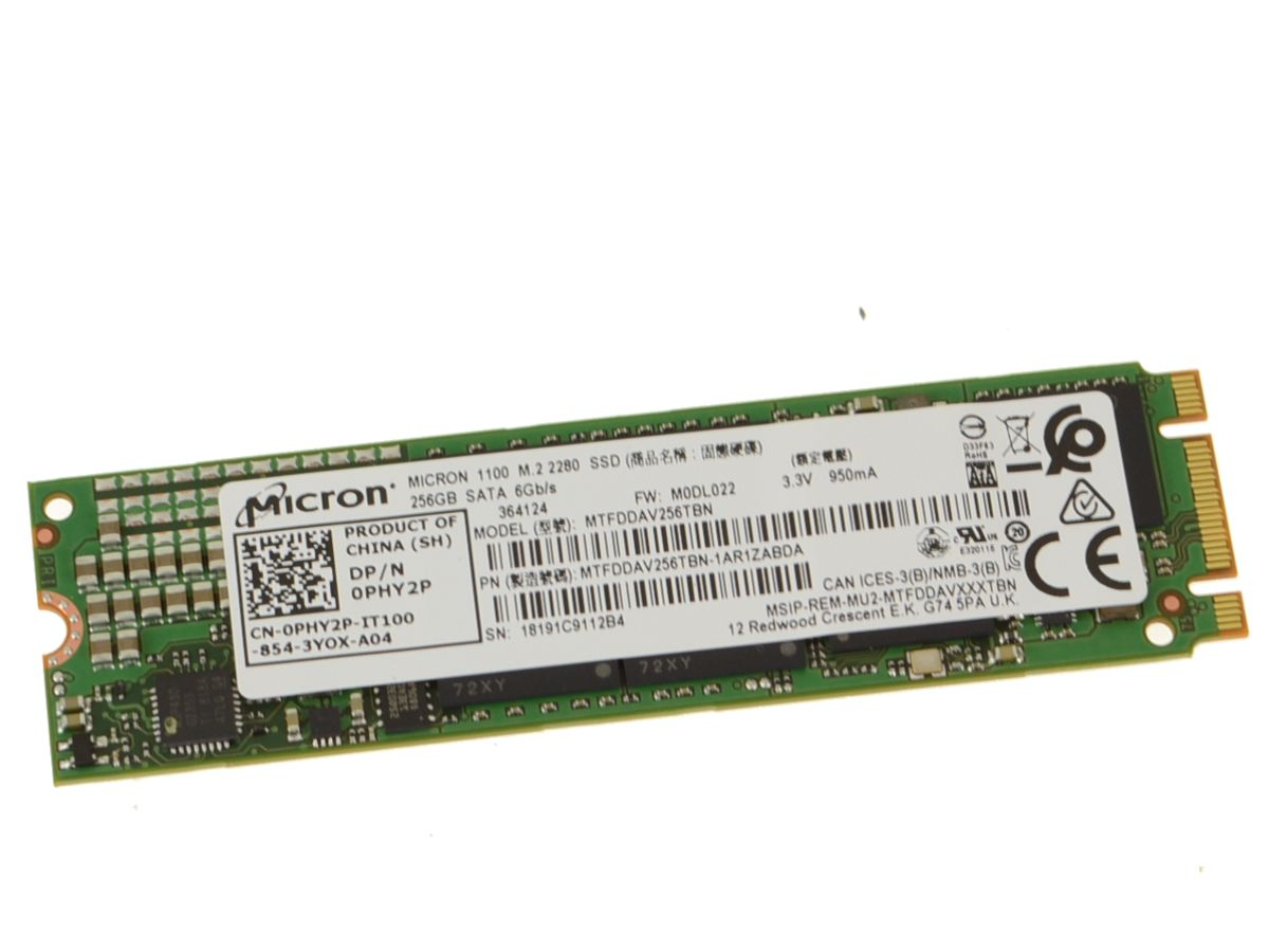 Dell OEM XPS (9343) / Latitude E7350 E7470 E5270 256GB SSD Hard Drive  Micron Tech M 2 2280 Card - PHY2P w/ 1 Year Warranty